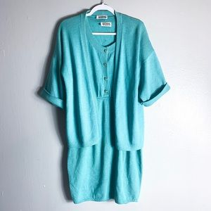 St. John Marie Gray Teal Knit Dress Cardigan Set